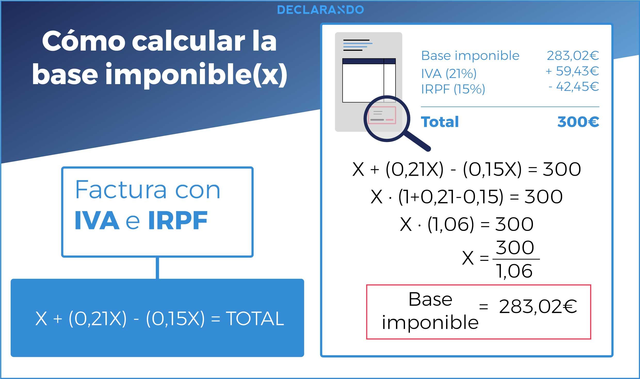 Cómo calcular la base imponible de una factura con IVA e IRPF a partir de un importe neto