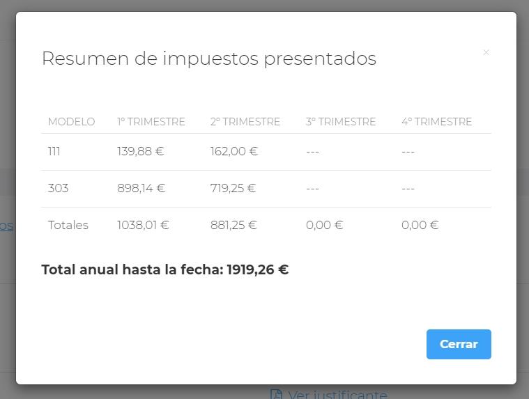 Imagen de la plataforma donde puedes ver los modelos y lo que pagarás de impuestos con un calendario fiscal 2021 personalizado