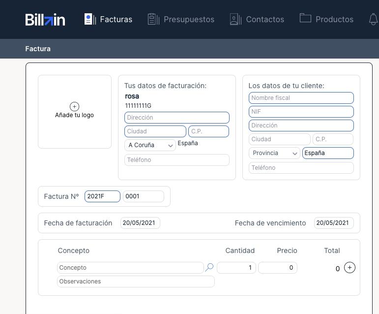 Una captura de pantalla de Billin, uno de los programas de facturación