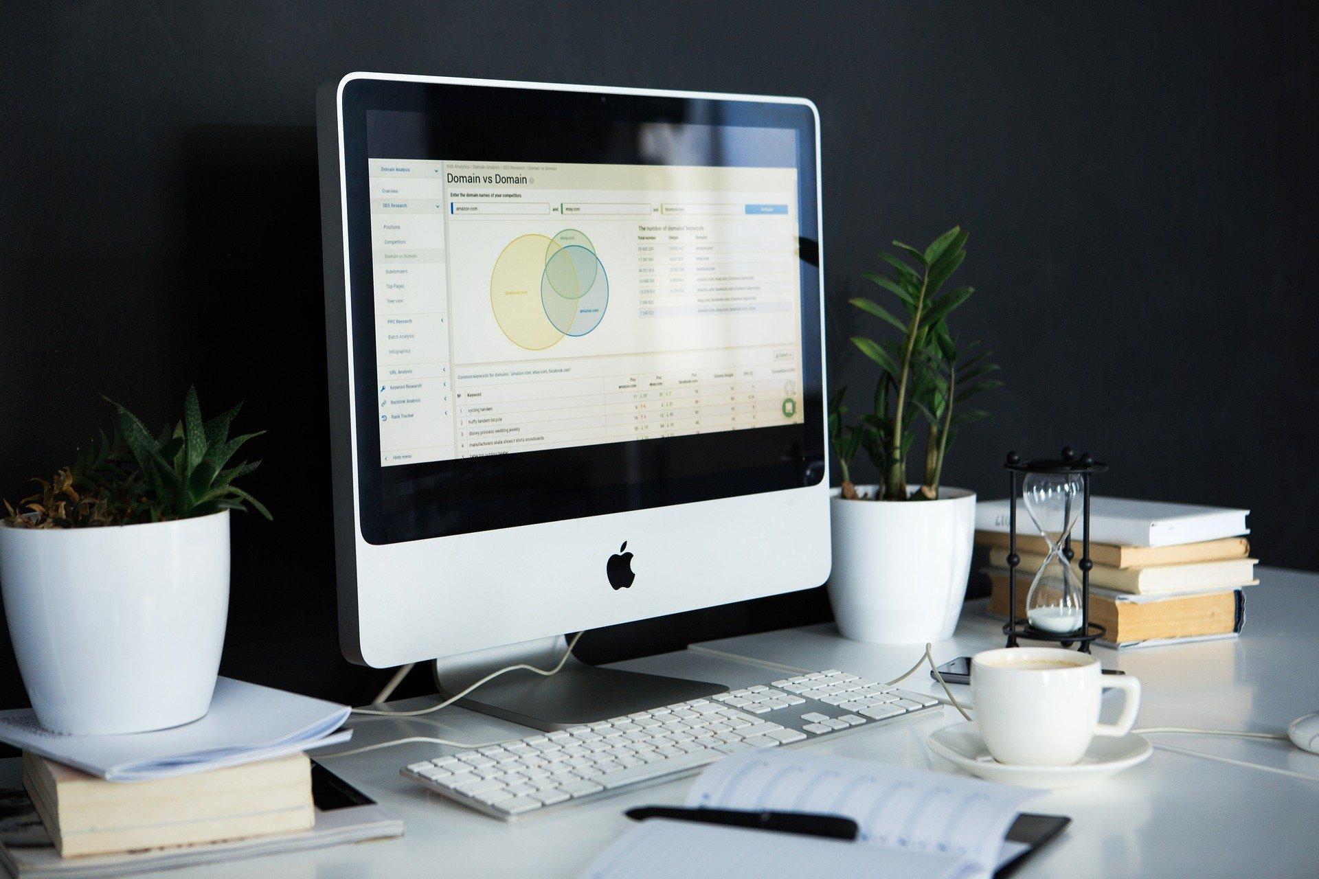 Un ordenador en una mesa de escritorio con dos plantas para buscar cómo hacer una factura de autónomo