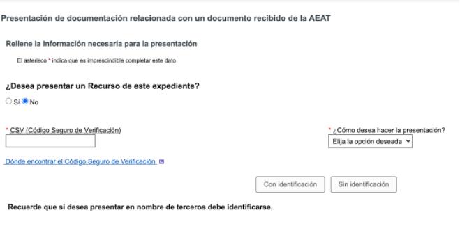 Una captura de pantalla sobre el CSV en el requerimiento de Hacienda y la Seguridad Social