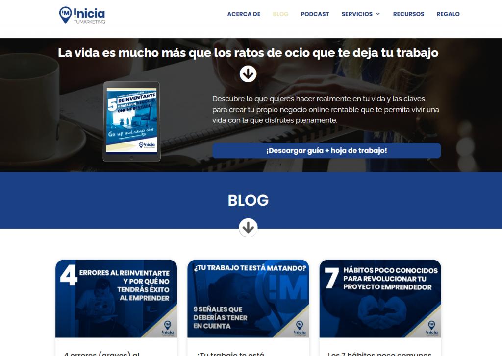 Ejemplo del blog Inicia tu marketing
